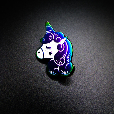 "Rainbow Color Plating Soft Enamel Pin ""Horny Horse"""